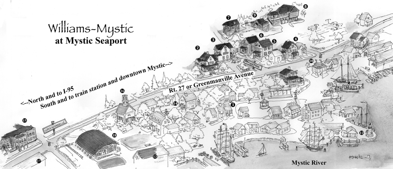 Image is a map of the Williams-Mystic campus. Route 27 runs through the middle. To the north, there is a cluster of student houses, the program office building, and the marine science center. To the south, the Mystic Seaport campus — which includes exhibition buildings, a recreated historical seaside village, a working shipyard, and several historic vessels — sprawls out along the waterfront.