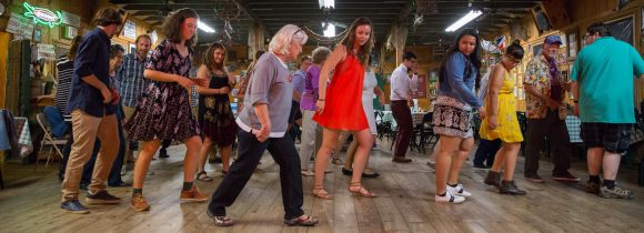 Fall 2017 students follow along as they learn Cajun dancing at a dance hall in Houma, La.