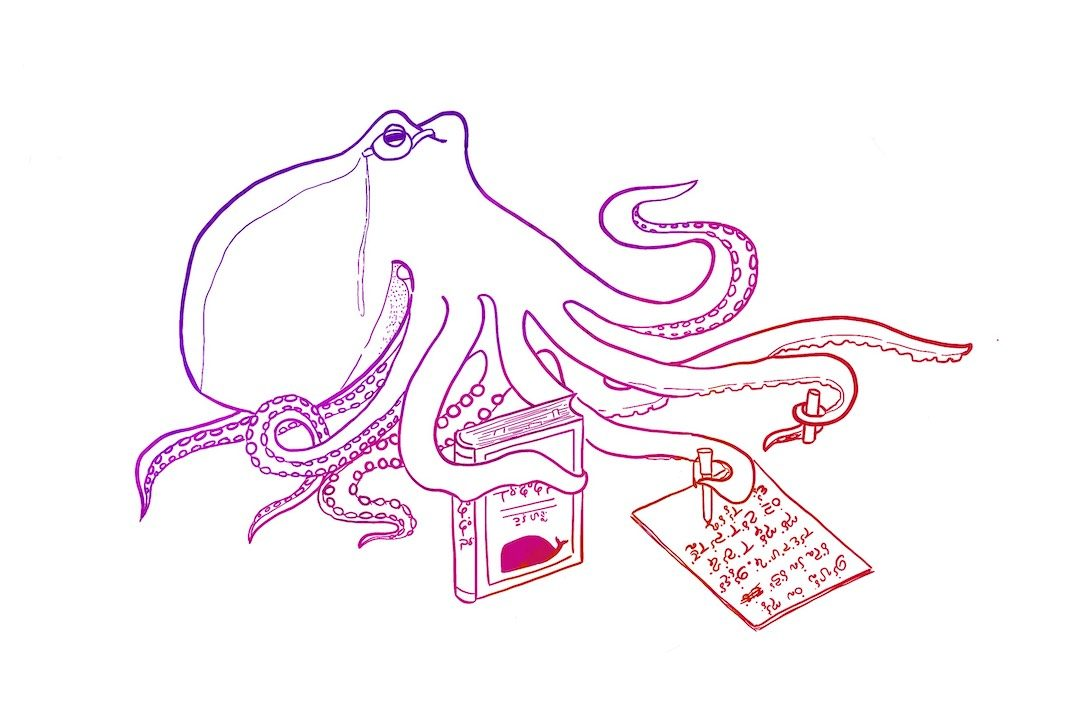 image shows a multicolored octopus wearing a monocle, clutching a mysterious text with a whale on the cover, and writing a treatise in an invented language